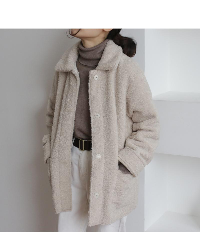 2018 autumn and winter new lamb coat Korean suede composite one-row buckle long thick thick woolen coat
