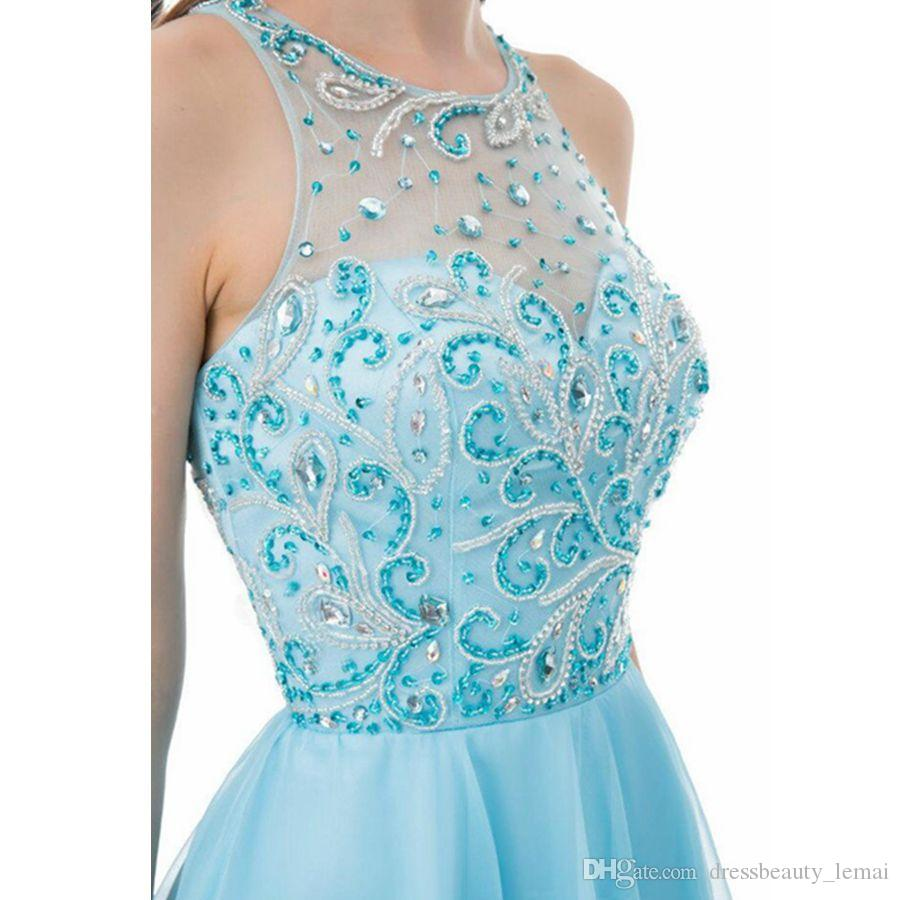 Real Crystal Beading Homecoming Dresses 2018 Short Prom Dress Jewel Sleeveless Cocktail Party Dresses Sweet 16 Dresses New