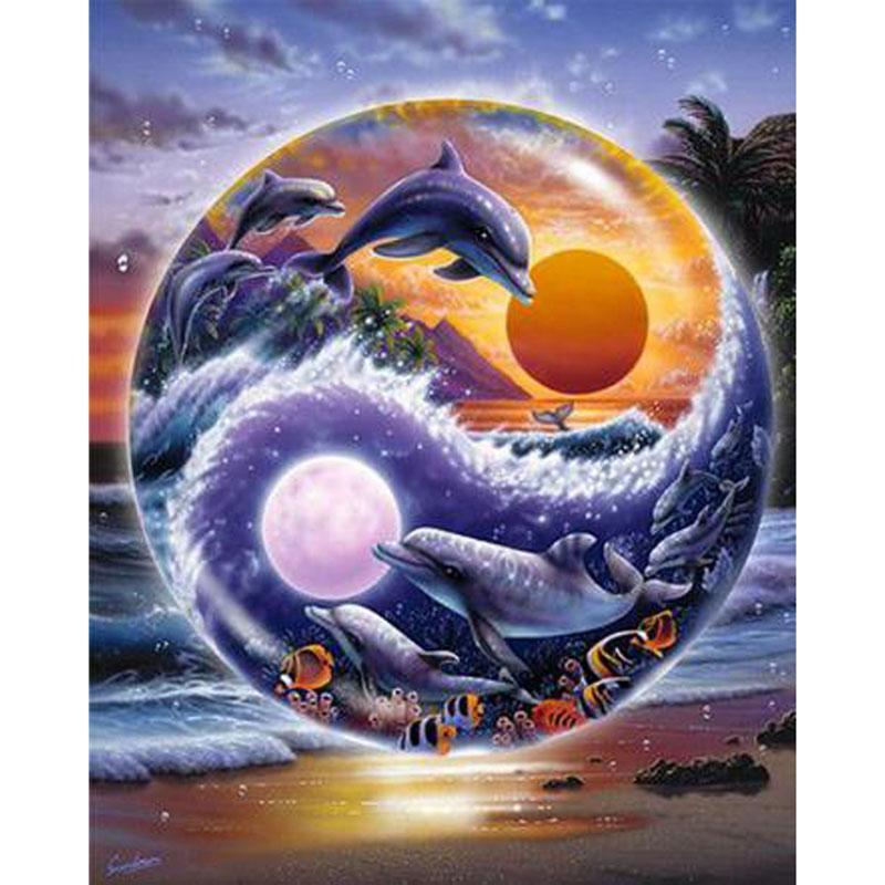 Acquista Yin E Yang Delfini 5d Mosaico Fai Da Te Ricamo Pittura