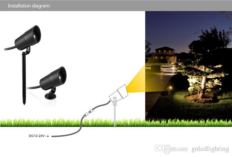 Acquista w led outdoor spot da giardino spike light prato dc v