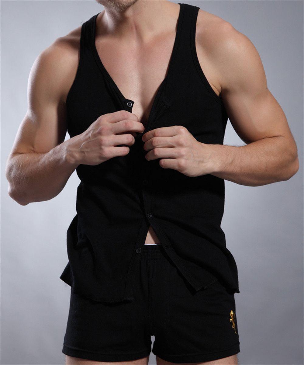 Hot !! Buttons Design Men Tank Top Vests Thread Cotton Mens Vest Bodybuilding White/Black/Grey