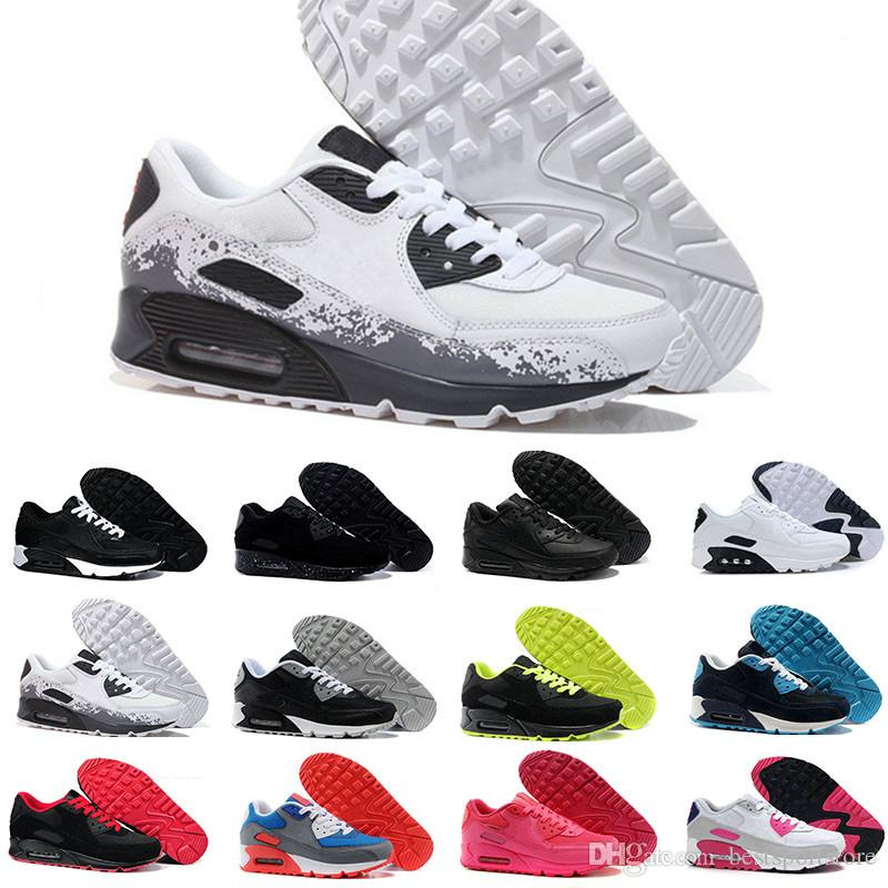 the best attitude 550f7 2daed Acheter Nike Air Max 90 Airmax HOT Mens Sneakers Chaussures Classique 90  Hommes Et Femmes Chaussures De Course Noir Rouge Blanc Sport Formateur  Coussin ...