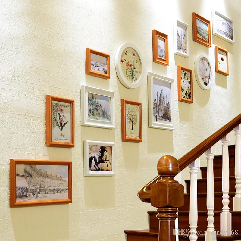 New Style Stairway Art Wall Hanging Photo Frames Set 15pcs Set Wooden Picture Frame Decor Photo Frames Porta Retrato Moldura