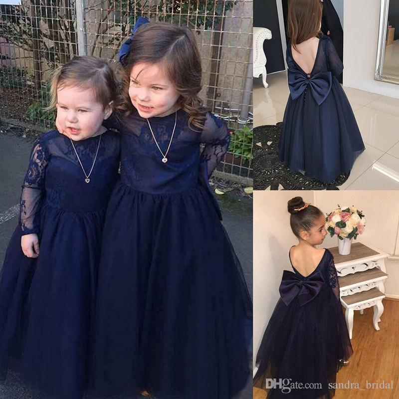 361adf12029 Cute Navy Blue Flower Girl Dress With Big Bow Backless Lace Long Sleeve  Vintage Girls Pageant Dresses Cheap Kids Formal Communion Dresses Pink Flower  Girl ...