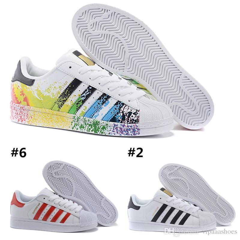 super popular a9f57 56c4b High quarity Mens Womens Superstar Shoes Sneakers Casual Walking Shoes  Woman Flats 15 Colors Size 36-44 New Colors