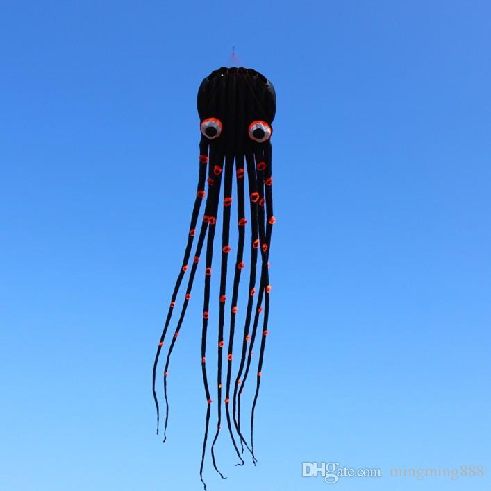 !!15m single Line Stunt Biack Parafoil Octopus POWER Sport Kite