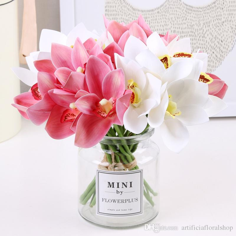 2019 Artificial Orchids Flowers Realistic Silk Fake Flowers Bouquet