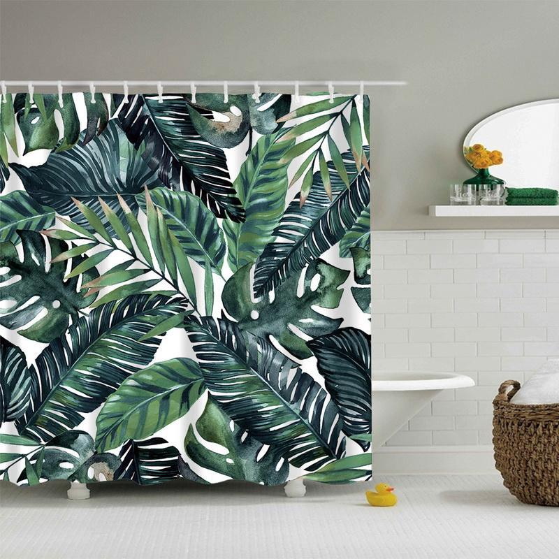 Cortinas Tropicales.Compre Urijk 1 Unid Plantas Tropicales Cortinas Para Bano Colorida