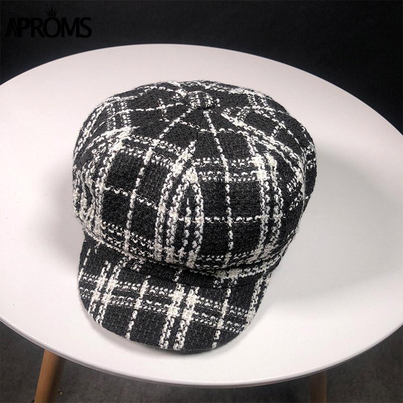 da999a5c46f Aproms Black White Plaid Print Knitted Captain Hat Women Autumn Casual Flat  Caps Winter Cool Girls Beret Hat Women Accessories Flat Cap Trucker Hats  From ...