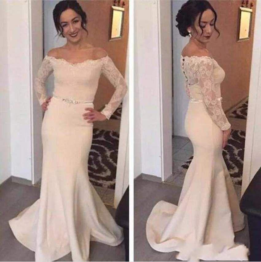 f317345cd0d 2018 Long Sleeve Mother Of Bride Dresses Off Shoulder Lace Satin Sexy Back  Design Button Appliques Elegant Mother Dresses Evening Dresses Young Mother  Of ...
