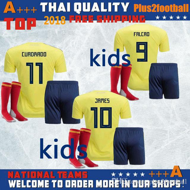 Kids Kits 2018 World Cup Colombia Soccer Jerseys 18 19 FALCAO Home Away  Football Shirt JAMES CUADRADO AGUILAR GUARIN C.SANCHEZ Uniforms Sets UK  2019 From ... c0f57b47f