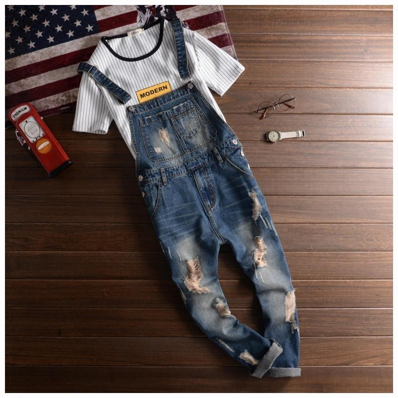 S-5XL Fashion Mens Overalls Suspender Denim Jeans Trousers Jumpsuit Ripped Pants Slim Fit Plus Size