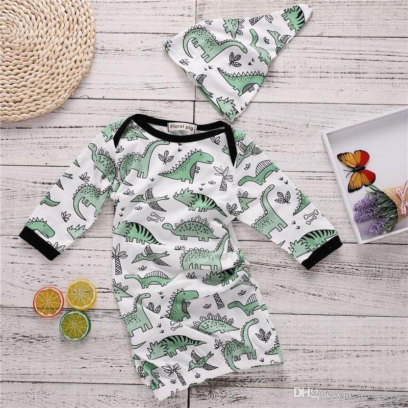 Baby Cute Dinosaur Pattern Sleeping Bag Set Hat+Sleeping Bag 54cm ...