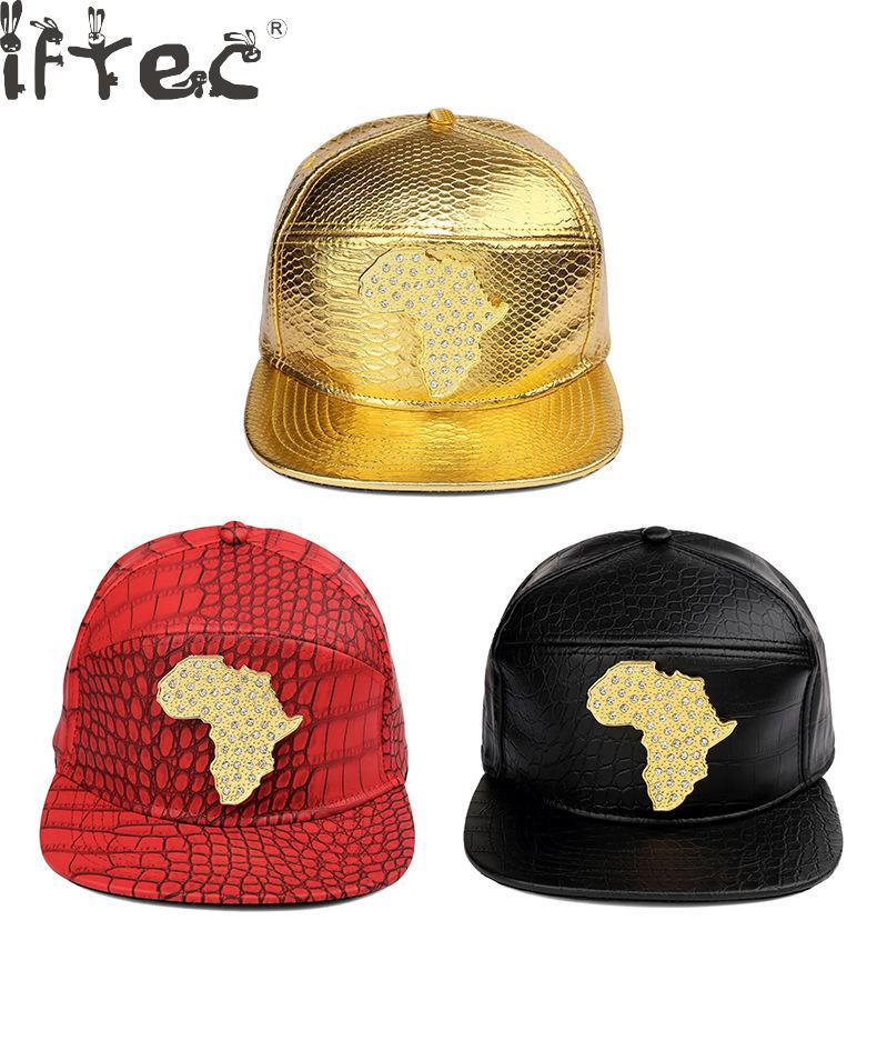 Punk Style Rhinestone African Snapback Red Pu Leather Map Of Africa  Baseball Caps Men Women Gorras Hip Hop Crystal Hats Cool Caps Flat Brim Hats  From ... 2a2086db766