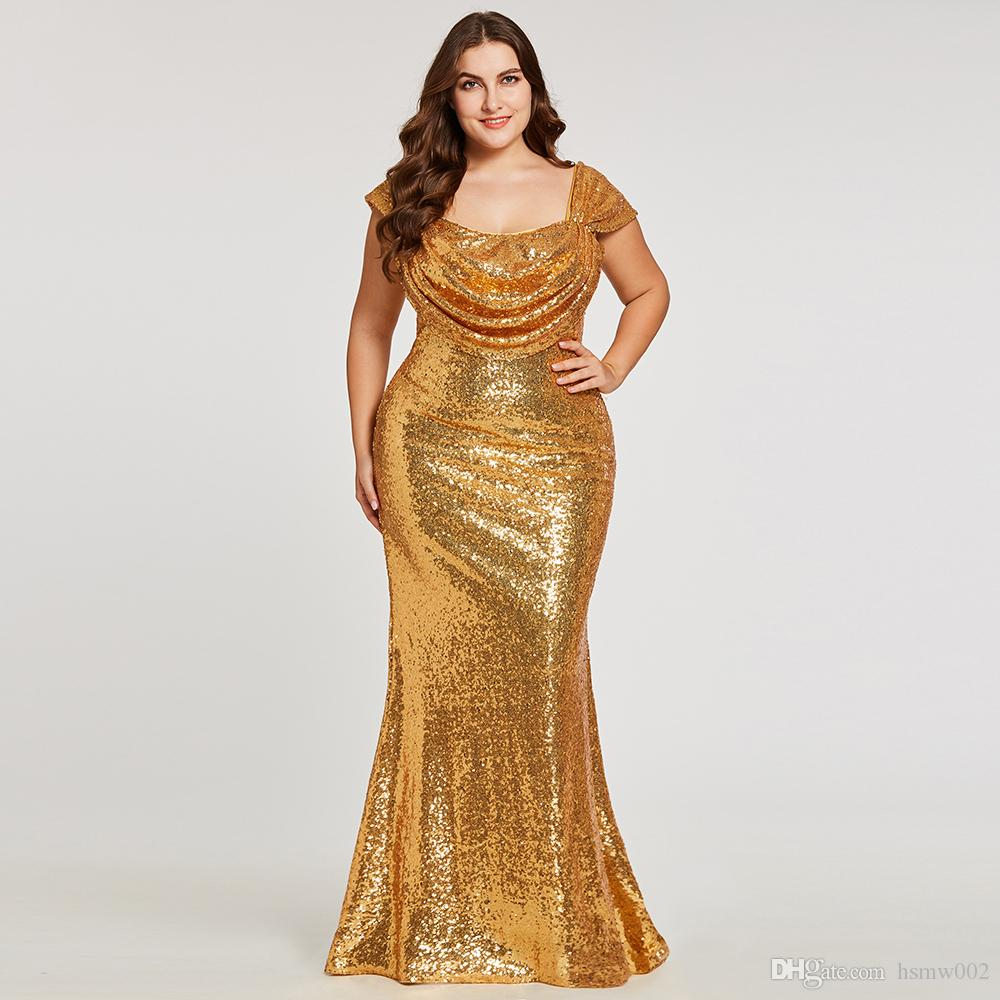 Sparkly Golden Sequined Mermaid Evening Dresses Plus Size Cap Sleeve Zipper  Up Prom Party Wear Formal Dress Sequins Evening Gowns 2018 Classy Evening  ...