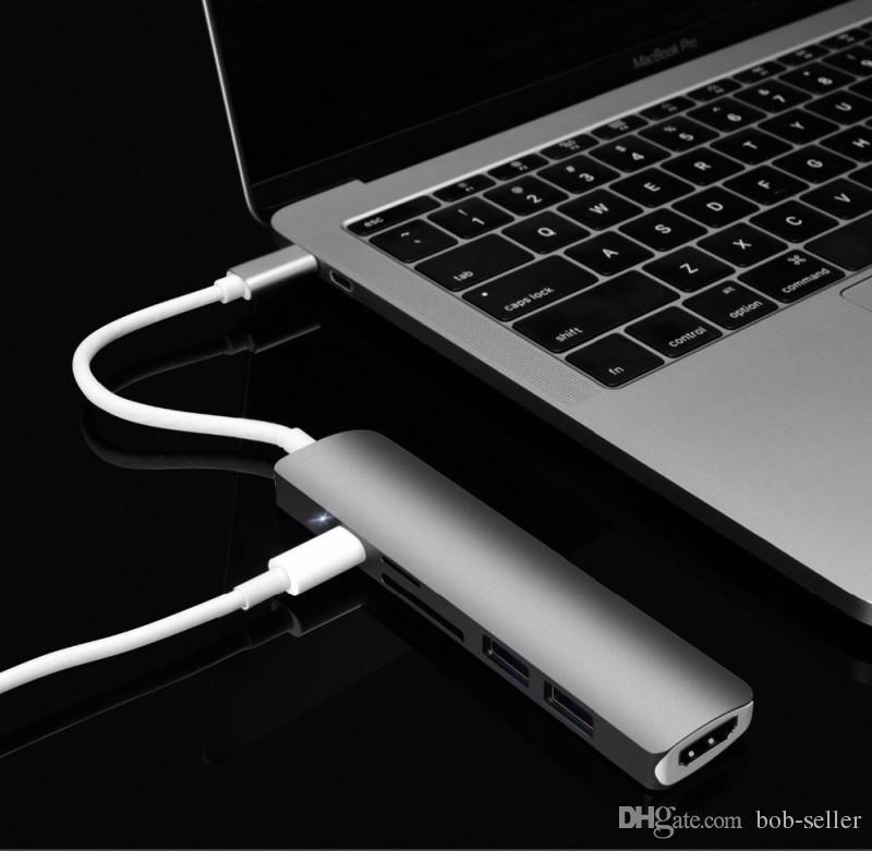 Support de convertisseur de type C à USB 3.0 à 6 ports Hub adaptateur USB de 4K avec lecteur de carte pour Macbook Pro