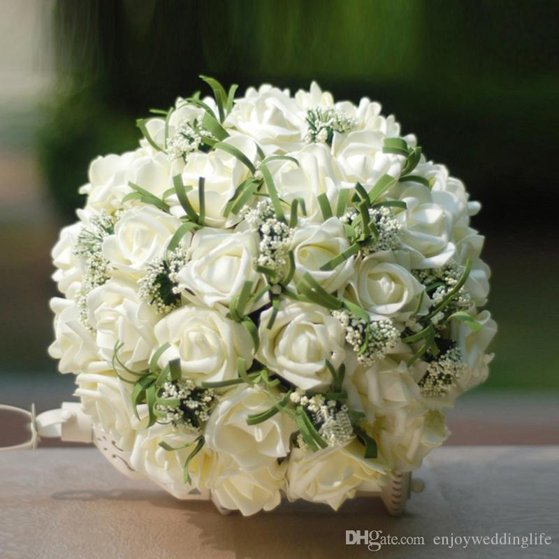 Artificial Beautiful Wedding Bouquets For Bride Silk Hand Holding