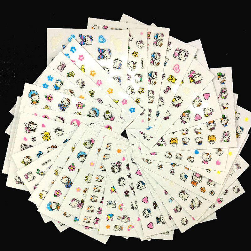 5 Sheetshello Kitty Nail Art Stickers Black Flowers Self Adhesive