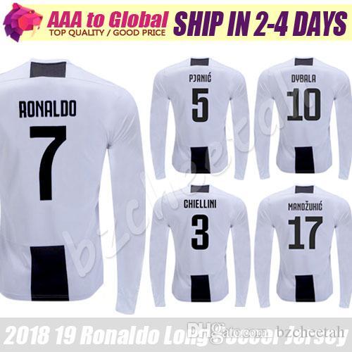 check out e50dd 7796a Ronaldo Long sleeve jersey 2019 Full sleeve shirts MANDZUKIC DYBALA  CHIELLINI PJANIC football jersey soccer jersey