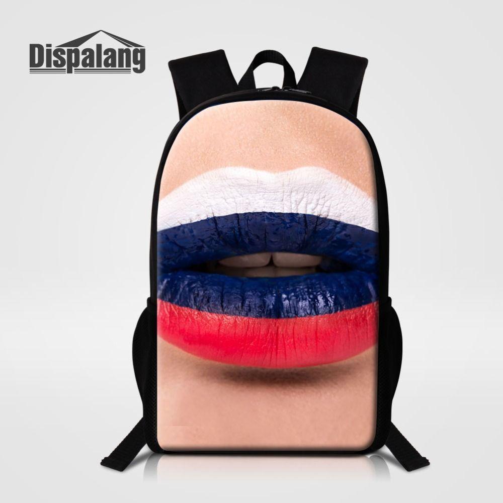 694e54b620 Dispalang Hot Sale Russia Flag Sexy Lip Prints Campus Female Girls Women  Backpacks 16 Inch Children School Bag Luxury Bookbag Gregory Backpacks Army  ...