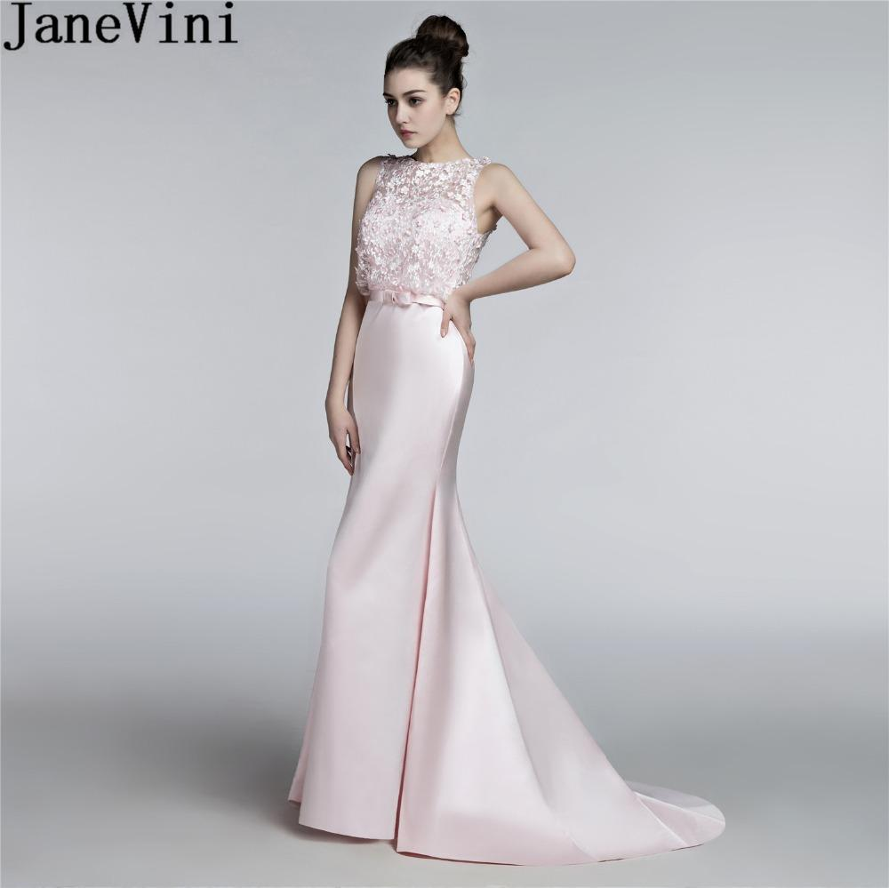 Wholesale Elegant Pink Flowers Mermaid Bridesmaid Dresses Long Satin Beaded  Wedding Party Dresses For Women Lace Sweep Train Gown Online with   391.65 Piece ... 022987852af6