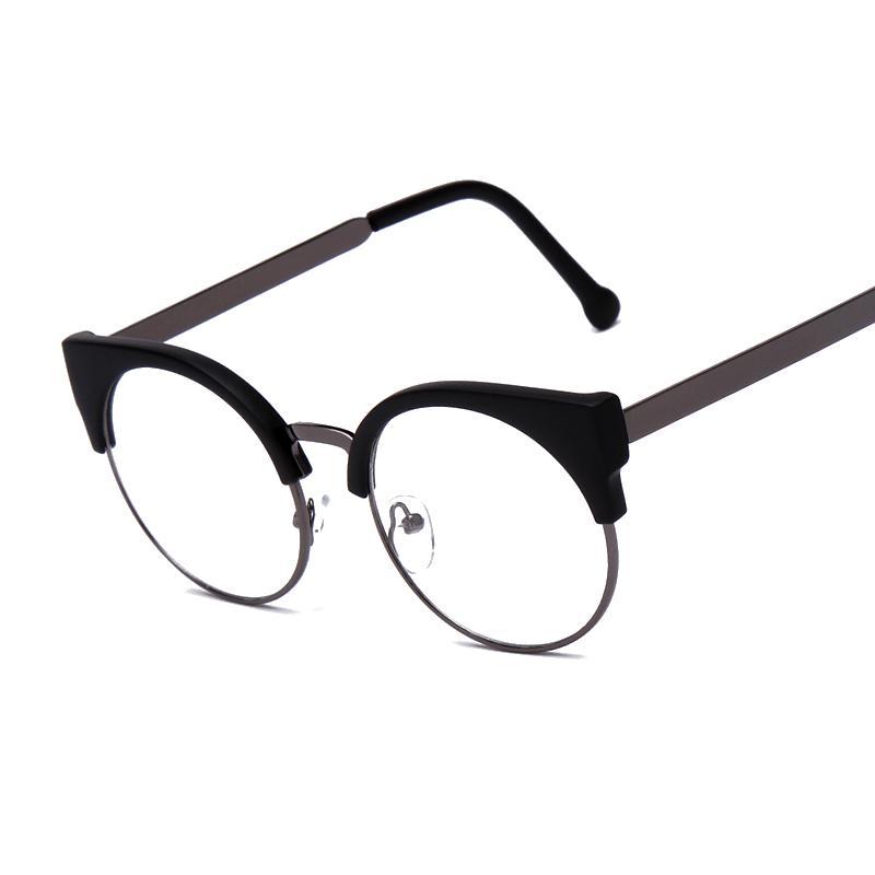 Fashion Women Brand Designer Cat\'s Eye Glasses Half Frame Cat Eye Glasses  Women Eyeglasses Frames High quality Grau F15010