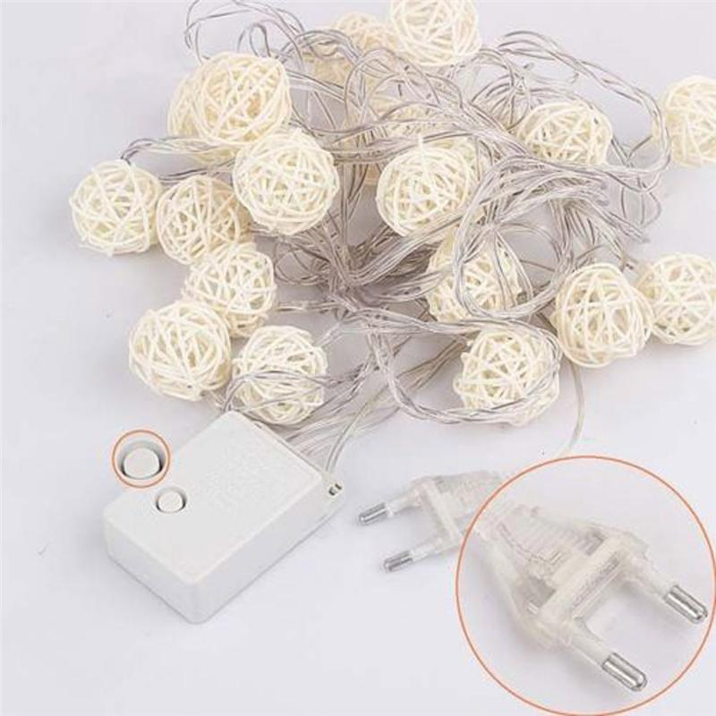 2017 5M 20 LED Warm White Rattan Ball LED String Christmas Wedding Party Fairy Lights For Home Garden Decor Lamp