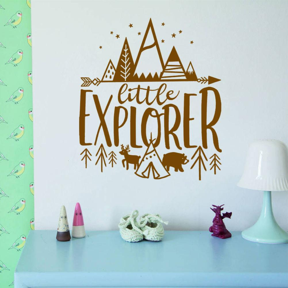 Little Explorer Wall Decals Kids Room Adventure Stickers Nursery Decor  Wallpaper Wall Art Tattoos Vinyl Wall Stickers Quotes Wall Accents Decals  From ...