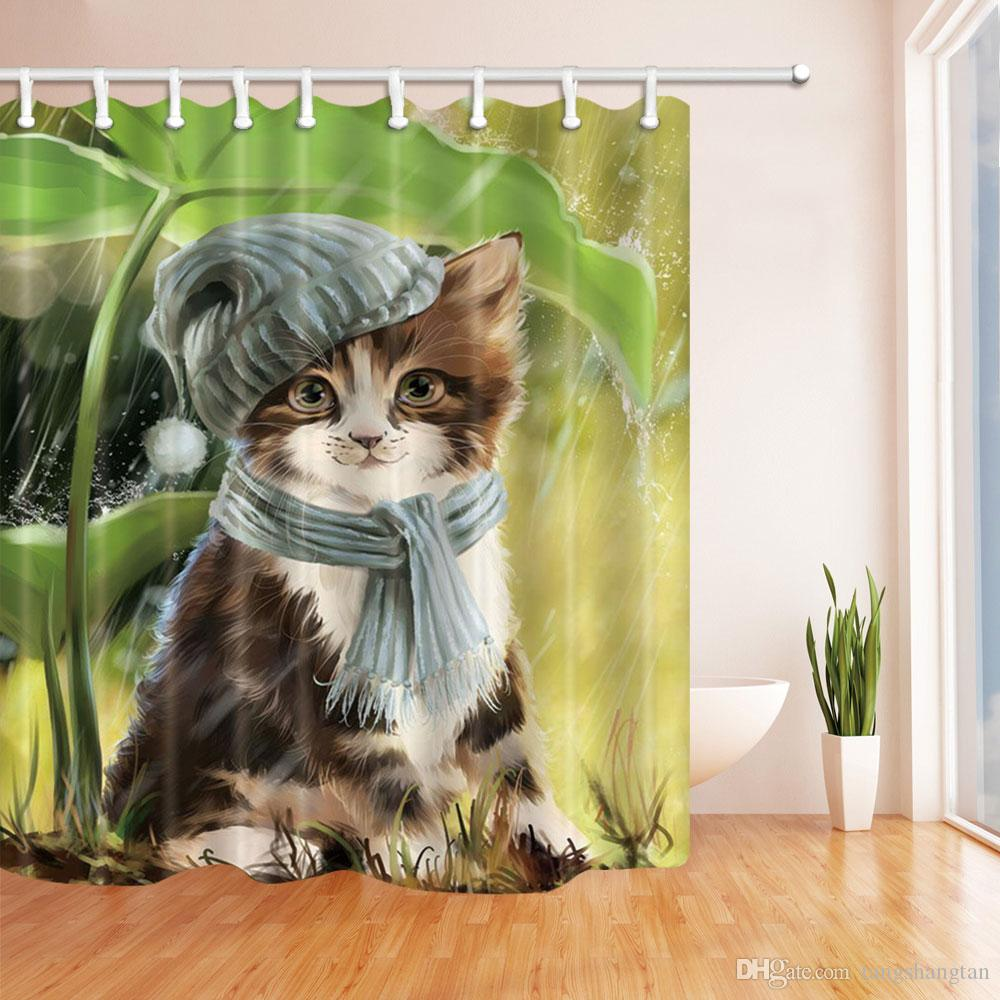 2019 Cat With Blue Hat Scarf Avoiding Rain Shower Curtain70x70 Inches Waterproof Mildew Resistant Polyester Fabric Curtains Hook From Tangshangtan