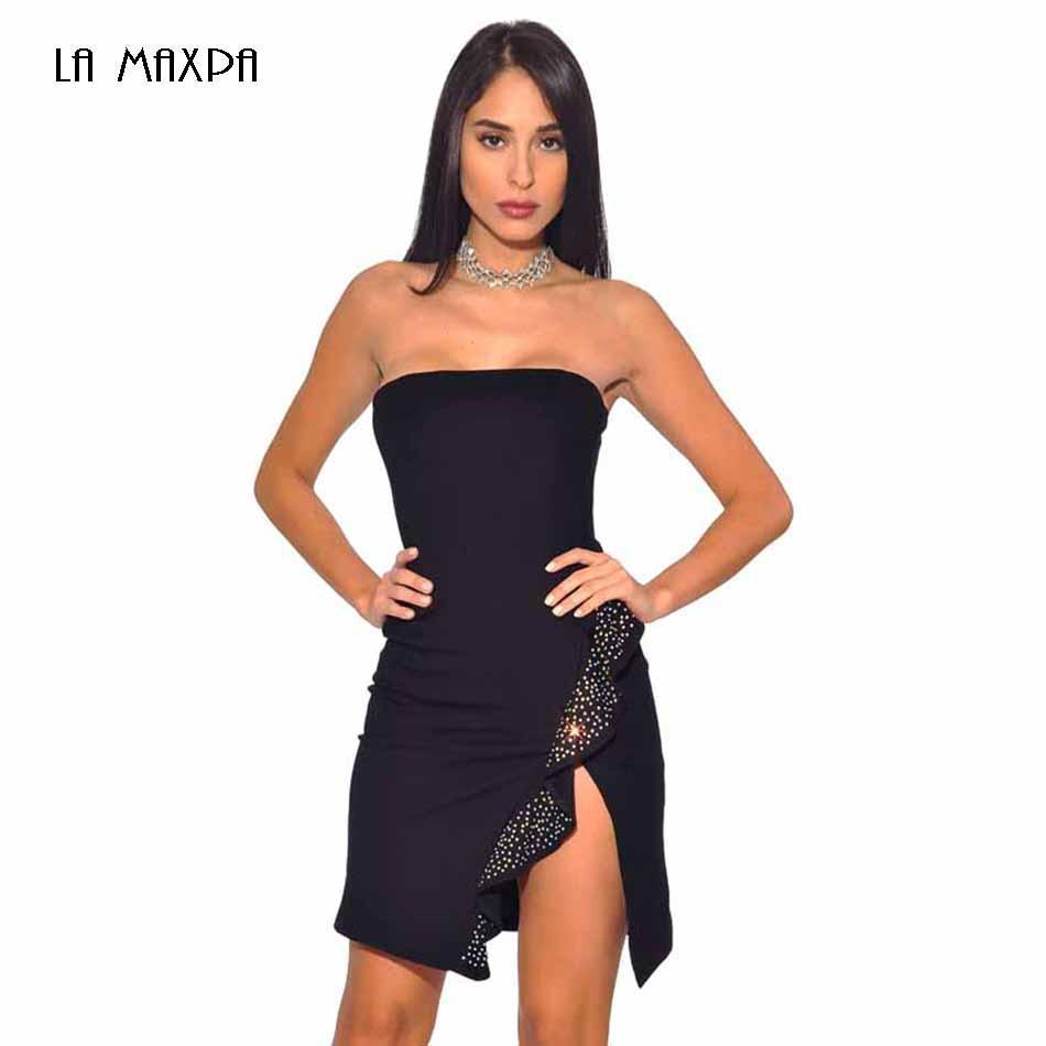 e0949f5f0a851 Satın Al Siyah Bandaj Elbise Bodycon Seksi Straplez Boncuklu Mini Bandaj  Elbise Kulübü Parti 2018 Yaz Kadın Giyim, $71.19 | DHgate.Com'da