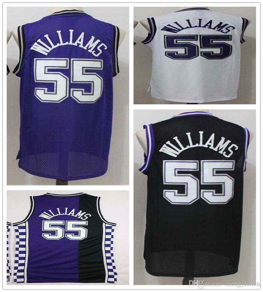 sneakers for cheap 2f2c7 f5c8a High Quality 55 Jason Williams Jerseys Retro Purple Black White Cheap Men  Stitched Shirt Jason Williams Jersey Shirts Embroidery Logos