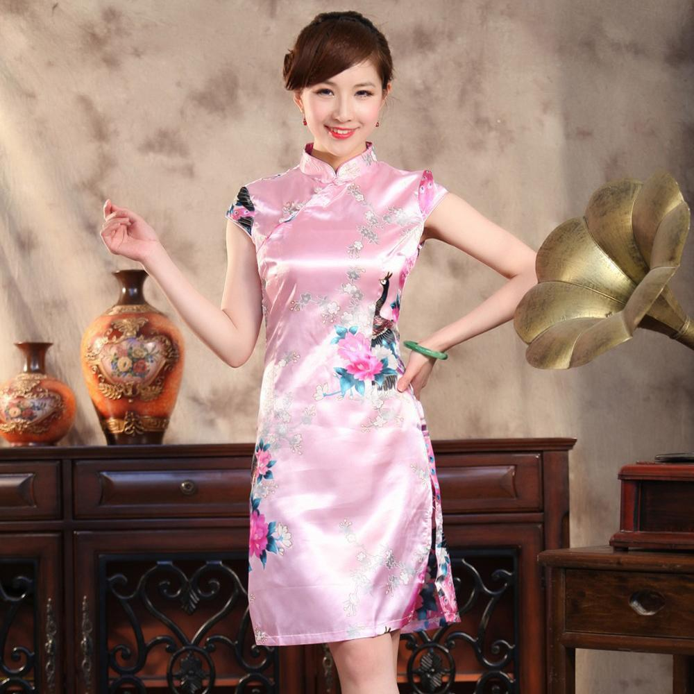 1a7e7f089 2019 Pink Bridal Wedding Party Dress Chinese Women Traditional Silk  Cheongsam Mini Sexy Qipao Floral Plus Size S To XXXL 011402 From Bairi,  $21.99 | DHgate.