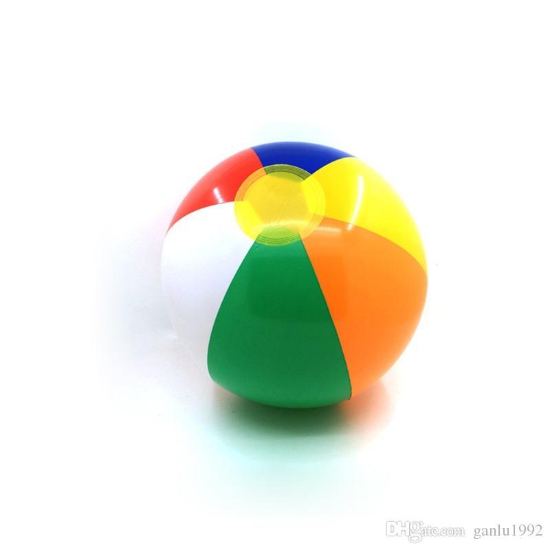 23cm Diameter Filled Balloon Children Outdoor Water Fun Striped Rainbow Beach Toy For Kids Inflatable Ball 1bx W
