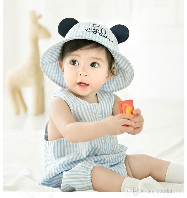 69816989d9a Cartoon Striped Ears Baby Bucket Hat Toddler Kids Summer Sun Cap Outdoor  Kids Cotton Beach Hats Baby Bucket Hat Summer Sun Cap Kids Hats Online with  ...