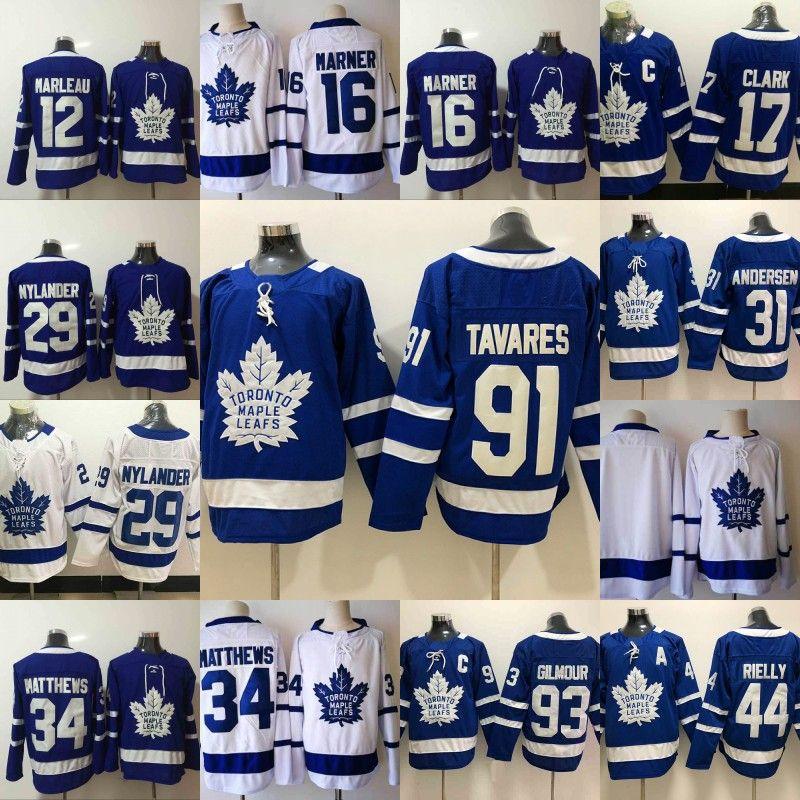 ca8a5adf26d 2019 #91 John Tavares Jersey Mens Toronto Maple Leafs 16 Mitchell Marner 31  Frederik Andersen 44 Morgan Rielly 93 Doug Gilmour Hockey Jerseys From ...