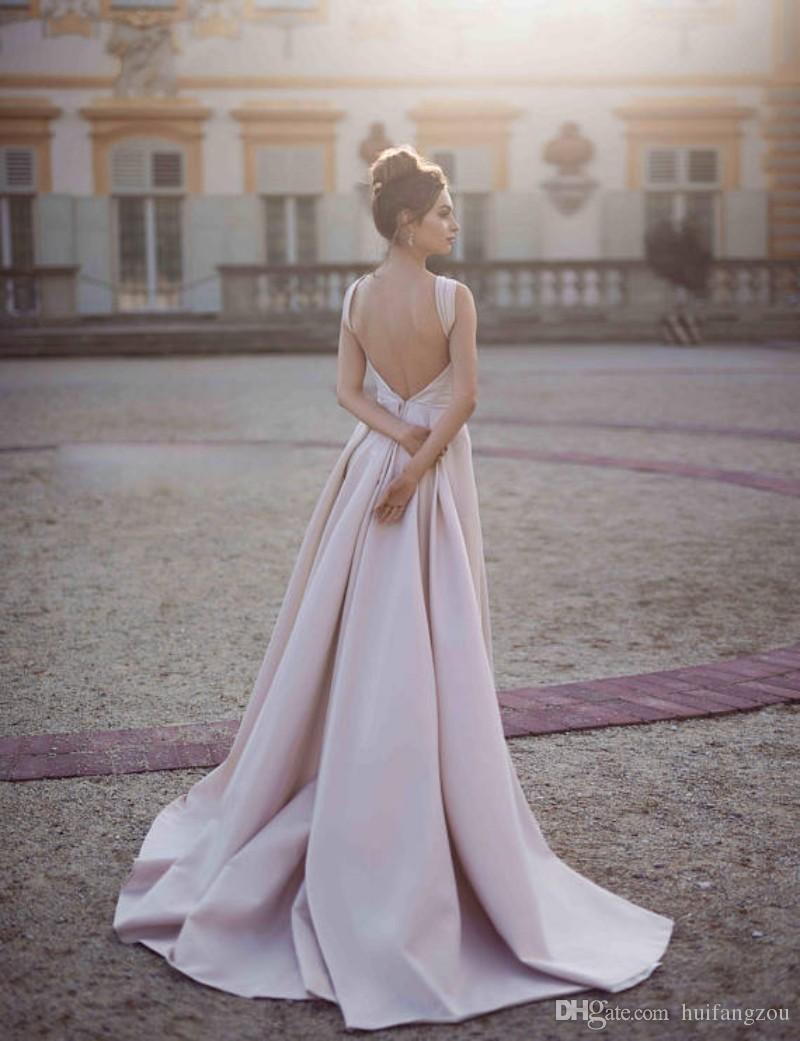 Rubor rosa Vestidos de baile de desmontables Tren Beads espaguetis magníficos vestidos de noche formal desgaste del partido de barrido tren por encargo
