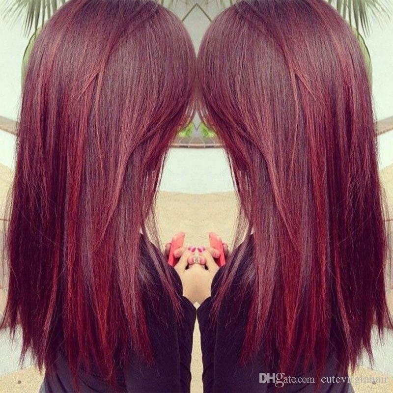 Natural Black 99j Burgundy 1b99j Ombre Colored Hair Closure