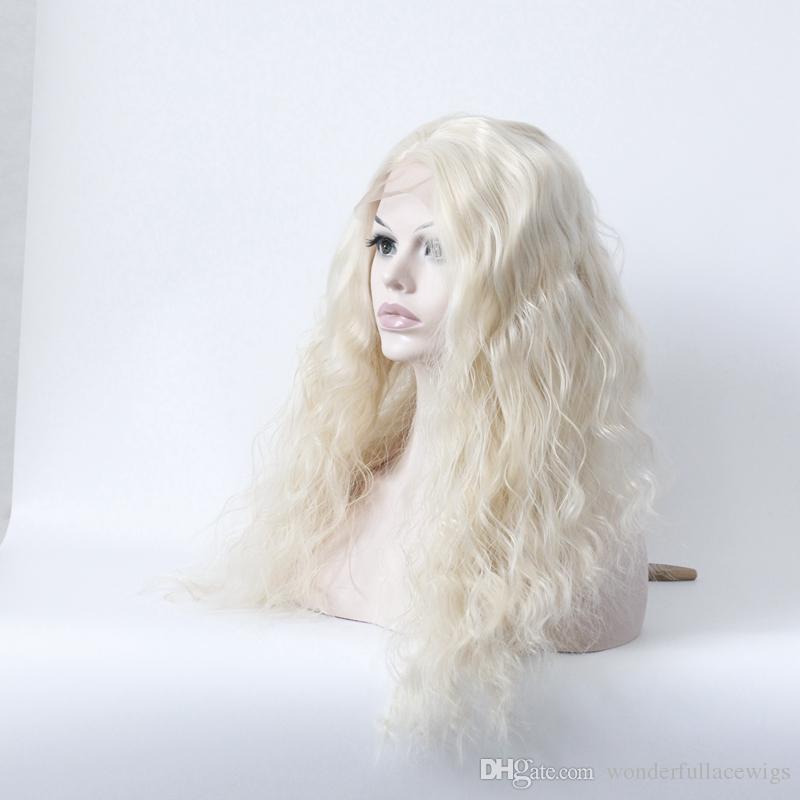 Синтетические кружева фронт парик волнистые природные волны жаропрочных природных волосяного покрова блондинка женщин кружева фронт парики длинные синтетические волосы