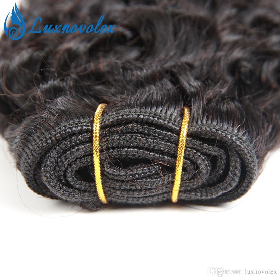 Бразильские волосы девственницы 4 пучки короткие кудрявый вьющиеся человеческие волосы 9а перуанский малайзийский Индийский вьющиеся волосы ткать естественный цвет 50 г / шт всего 200 г