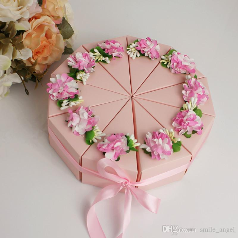 2018 New Cake Style Trilater Wedding Candy Box With Flower Birthday