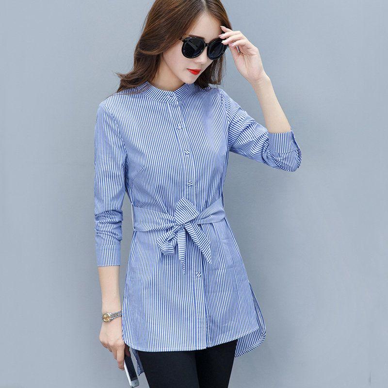 26541cd72b Compre 2019 Otoño Mujer Camisas Moda Gasa Blusa Raya Peplum Tops ...