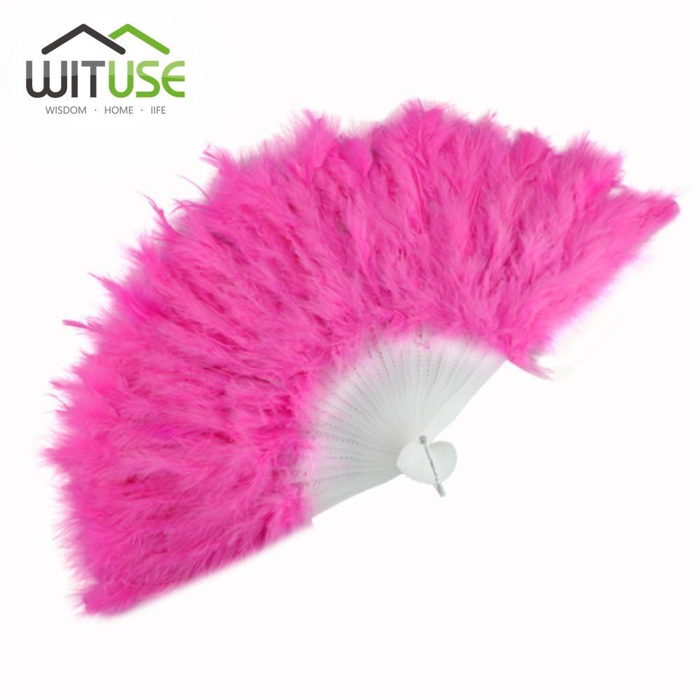 Wituse Goose Feather Folding Fan Wedding Hand Fancy Dress Costume ...