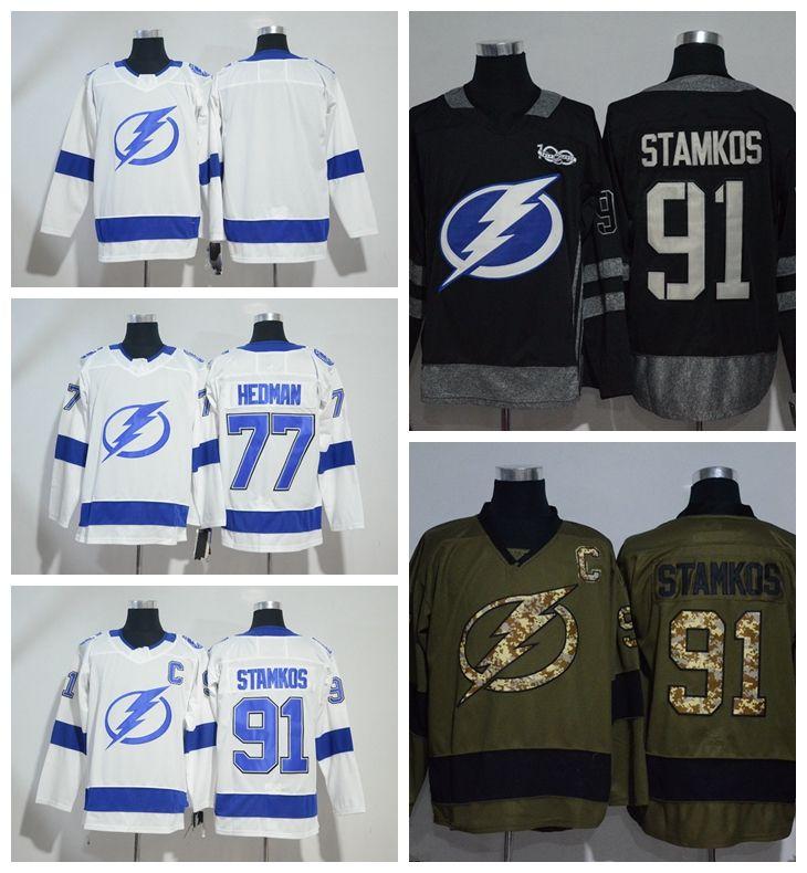 2fa2c0de2 2019 Tampa Bay Lightning 77 Victor Hedman 91 Steven Stamkos Hockey Jerseys  Stitched White Green Black Vintage From Lejerseys