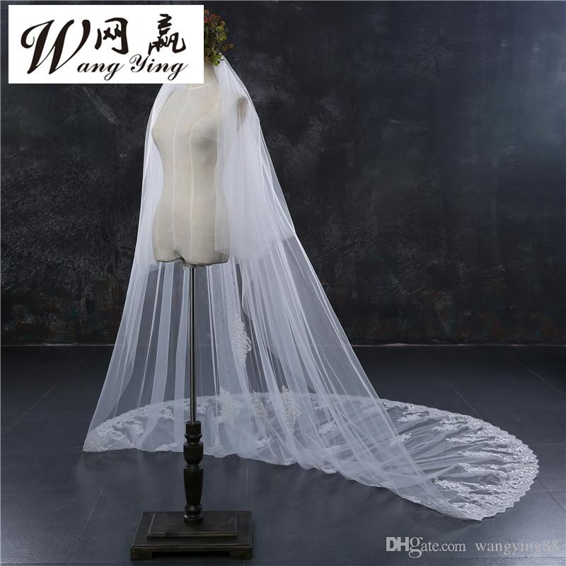 New Style Two Layers Full Edge with Lace Luxury 3 Meters Long Wedding Veil with Comb White Ivory Bridal Veil Velos De Novia