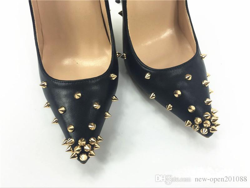 Le donne pompe tacchi alti scarpe rosso suola rivetto scarpe a punta sexy tacco alto scarpe da sposa moda scarpe tacchi alti 8 cm 10 cm 12 cm + scatola