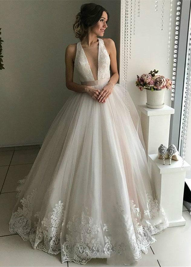 Discount 2019 Sexy And Simple Sheer Deep V Neck Sleeveless Wedding Dresses  Ribbon Ruffle Lace A Line Backless Sweep Train Bridal Gown Short A Line  Wedding ... 82d235d35b42