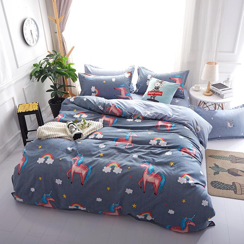 Kids Unicor Bedding Set Twin Bed Linen For Children Cartoon Comforter Cover  Sets Princess Castle For Covers Single Queen Size Blue Bedding Sets King  Size ...