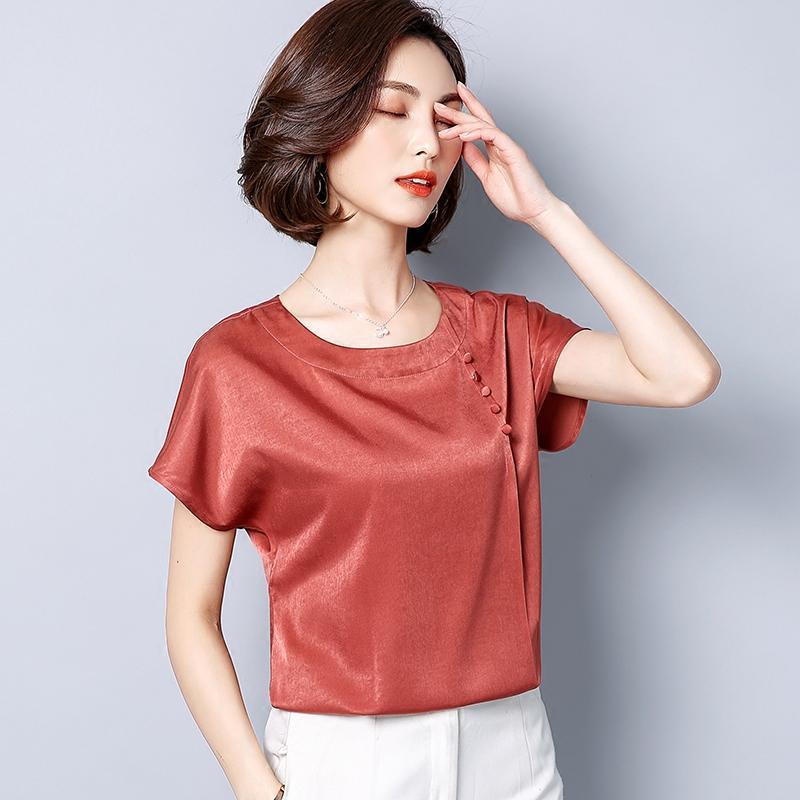 c465d4a4c9bd 2019 BIBOYAMALL Women Blouses Summer Casual Silk Blouse Loose Short Sleeve  OL Work Wear Blusas Feminina Tops Shirts Plus Size XXXL From Cadly