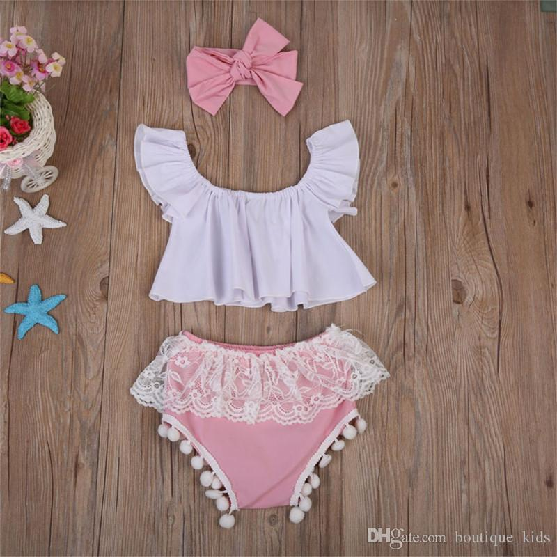 Newborn Baby Girl Clothes Summer Infant Clothes Ruffle Tops +Lace Tassel Shorts Bottoms +Headband Cotton Kids Toddler Girls Outfit Set
