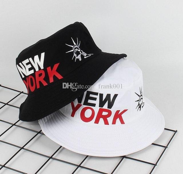 뉴욕 자유의 양동이의 동상 모자 모자 밥 모자 인쇄 야외 여행 남자의 파나마 모자 비치 어부 boonie Hat